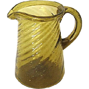 Vintage Mexican Amber Swirl Glass Creamer from Mexico