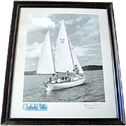 Mid-Century Framed Photo of Young Men and Women Sailing on Kentucky Lake