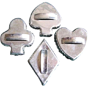 C. 1960s Aluminum Playing Cards Cookie Cutters Heart Spade Club & Diamond