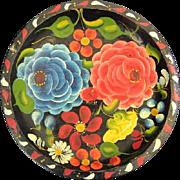 "Mexican Folk Art Batea Wood Tray Floral Design 10.75"""