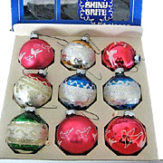 9 Vintage Shiny Brite Glass Christmas Tree Ornaments in Original Box
