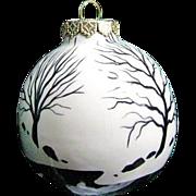 Ceramic Christmas Tree Ornament Signed by Landscape Painter Dan Boldman
