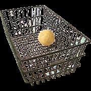Vintage Green Metal Gym Locker Room Basket No. 99 Tag