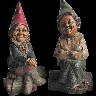 "SALE Two Tom Clark Cairn Studio Gnomes 1987 ""Mr."" ""Mrs."" Since Retired"