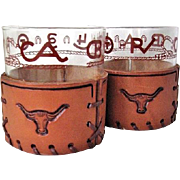2 Libbey Bamco Western Brands & Rope Glasses Leather Sleeves