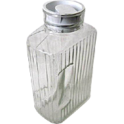 Vintage Arcoroc ARC France Ribbed Glass Refrigerator Bottle w. White Lid