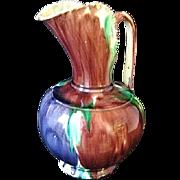 "Large 10"" Oaxaca Mexico Dripware Pottery Pitcher"