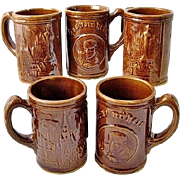 SALE 5 Gesundheit Yellow Ware Beer Mugs / Steins 1930s Pennsylvania