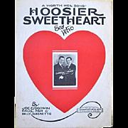 Framed Hoosier Sweetheart Sheet Music 1927 Carroll & Grady