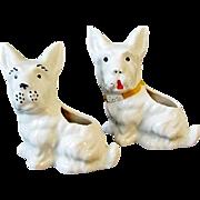 SALE Two Vintage White Ceramic Scottie Dog Planters