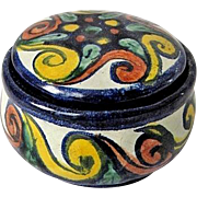 Vintage Signed Carew Mexican Talavera Pottery Dresser Bowl w. Lid