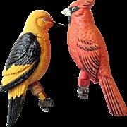 2 Vintage Plastic Cardinal & Oriole Birds w. Brackets to Sit on Branch / Perch