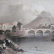 SOLD County Mayo Ireland Etching by H. Griffiths of a Picture by W.H. Bartlett Mid 1800s - Red