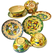 SALE Antique Mexican Majolica Redware Cup & Saucer Set c. 1900 Guanajuato Mexico