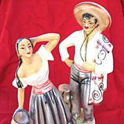 SALE Large Vintage Hand-Painted Mexican Man / Woman Statues