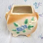 Vintage Morton Pottery Jardiniere or Planter Blue Floral Pattern