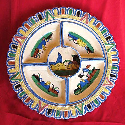 Tlaquepaque Mexico Aldana Pottery Chip and Dip Set circa 1930