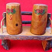 Wooden Salt & Pepper Shakers on Bench -- Pine Cone & Needles Design S&P