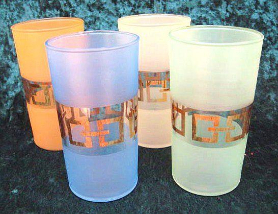 Four 8 oz Mid-Century Modern Gold-Trim Drinking Glasses