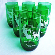 """Six Anchor Hocking Green Gay Nineties 5"""" Glasses """"The Hansom"""""""