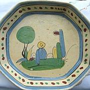 Large Octagonal Tlaquepaque Mexican Pottery Dish