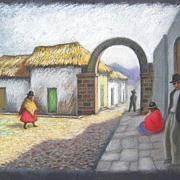 SOLD Original Janet Rontz Pastel of Latin America Street Scene