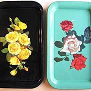 Two Metal Serving Trays w. Floral Prints of Roses