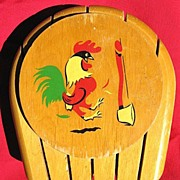Vintage Wooden Knife Holder with Rooster & Axe Design