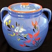 McCoy Pottery Blue Cold Paint Floral Cookie Jar