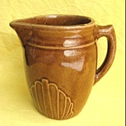Unmarked McCoy Pottery Milk Pitcher - Brown Stoneware
