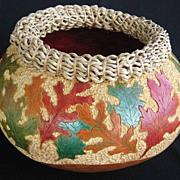 SALE Leaf Design Gourd Art Vase / Bowl by Cheryl Burns