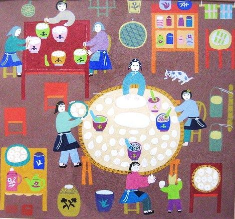 Folk Art Kitchen Scene Painting from Jinshan County People's Republic of China