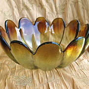 Mid-Century Modern 1960s Honey and Amber Large Indiana Glass Salad Bowl
