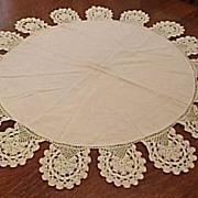 Vintage Late 1930's Round Line and Lace Table Cloth