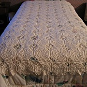 Collectable Chenille Popcorn Hand Crocheted Bed Spread with Pillow Cover