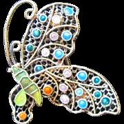 Adorable Enamel Vintage Butterfly Pin