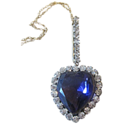 Fabulous Older Rhinestone Heart Pendant
