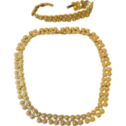 Elegant Unsigned Designer Vintage Necklace and Bracelet with Faux Pearls