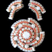 Beautiful Pinwheel Brooch and Earrings
