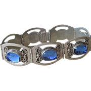 Sterling Mexican Bracelet with Brilliant Blue