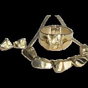 "Crown Trifari - Outstanding  ""Golden Nugget""  Demi Parure"