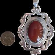 Huge Sterling and Carnelian Vintage Pendant