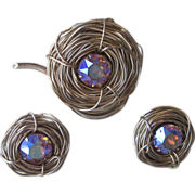 BERGERE- Stunning Signed Vintage Brooch and Earrings