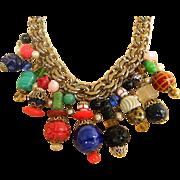 Signed Monet Lantern bead necklace