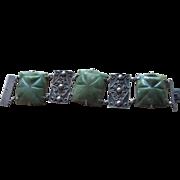 Huge Sterling and Mexican Jade Agate Old Bracelet
