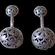 Huge Unusual Pierced Sterling Clip Earrings