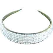 Celluloid and Rhinestone Runway Collar Necklace