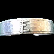 "Vintage Sterling Hammered Signed Bracelet with initial ""E"""