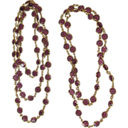 2 Vintage Purple Bezel Crystal Necklaces