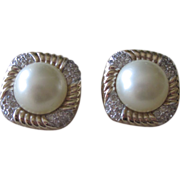 Panetta- Signed Vintage Faux Pearl and Rhinestone Earrings